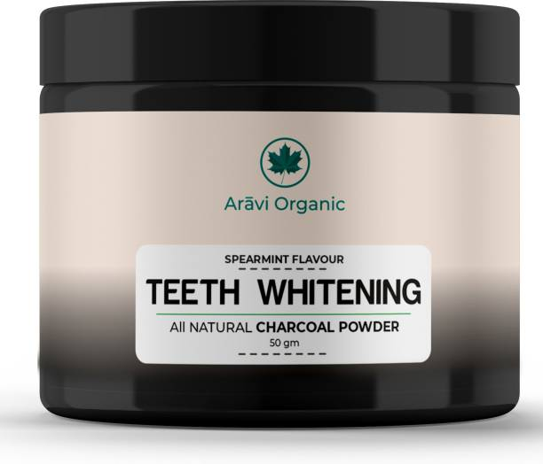 Aravi Organic Teeth Whitening Activated Charcoal Powder | For Tobacco Stain, Tartar, Gutkha Stain and Yellow Teeth