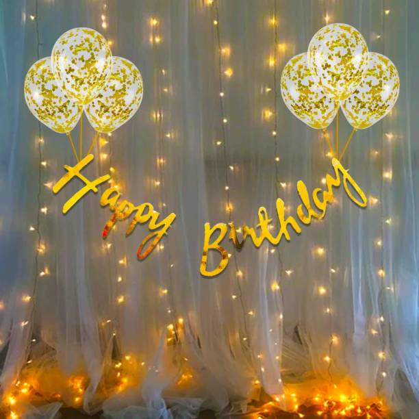Cakeshala Solid 10Pcs Bday Banner Confetti Balloon with Led Light for Kids, Husband Girls, Boys Bday Decorations Items with Fairy Lights Balloon