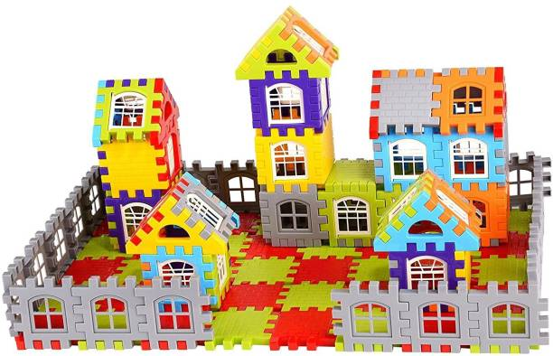 cktech Building Blocks for Kids – 72+ Pcs, Mega Jumbo Happy Home House Building Blocks Smooth Rounded Big Size Blocks with Assemble Blocks-Multicolor