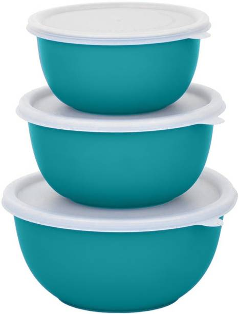 Zaib turquoise bowl set of 3 Microwave Safe Plastic Coated Euro Bowls with LID Stainless Steel, Polypropylene Serving Bowl (turquoise, White, Pack of 3) Steel Storage Bowl