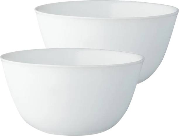 BOROSIL Set of 2 (0.75Ltr + 0.75Ltr) Opal Glass Mixing Serving Bowl Microwave Dishwasher Safe Opalware Serving Bowl