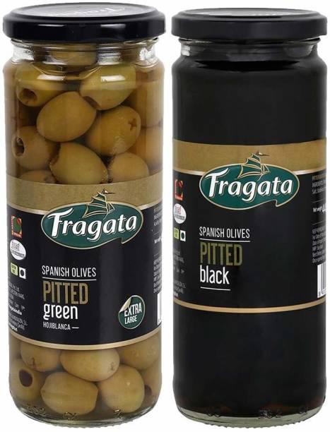 Fragata Pitted Black Olives & Olives Pitted Green Olives for Pizzas and Salads Olives