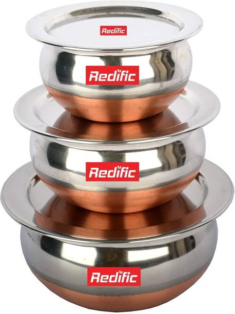 Redific 3pc Copper Bottom Stainless Steel Multipurpose Cook & Serve Handi/Dish/Donga/Bowl/Box/Kitchen Food Storage Containers/Tiffin/Lunch Box Set (Copper Handi) Cookware 3 piece gift Set induction and gas stove compitable (Stainless Steel Handi Non stick, 3 - Piece WITH LID AND HANDLE) Handi 1.5 L, 1 L, 0.75 L Cookware Set (Copper, Stainless Steel, 3 - Piece) Handi 1.23 L, 0.85 L, 0.65 L with Lid