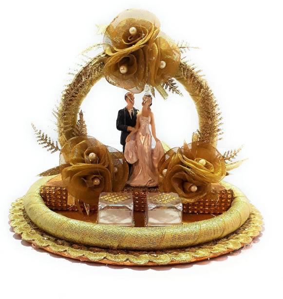 GiftsBouquet Decorative Engagement Ring Platter Tray Golden Wood Decorative Platter