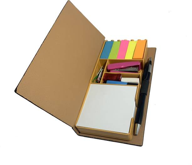RATN Premium Series Unique Design Black Textured Hardcover Stationery Set with 5 Types of Sticky Notes, a Notepad, Pen, Highlighter, Eraser, Sharpener, Paper Clips & a Stapler Regular Note Pad yes 120 Pages