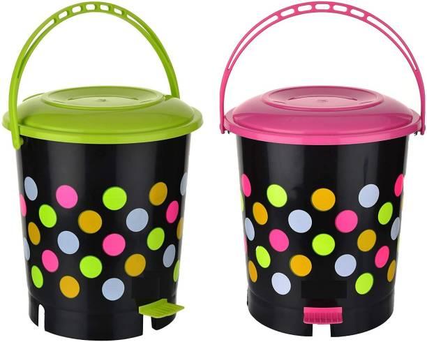 N H Enterprise New Stylish Colorful Pedalbin ( 2 pcs - Pink / Green ) - 12 L Plastic Dustbin