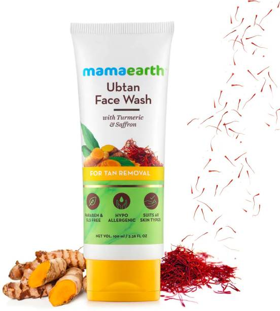 MamaEarth Ubtan Natural  for Dry Skin with Turmeric & Saffron for Tan removal and Skin brightning 100 ml - SLS & Paraben Free Face Wash