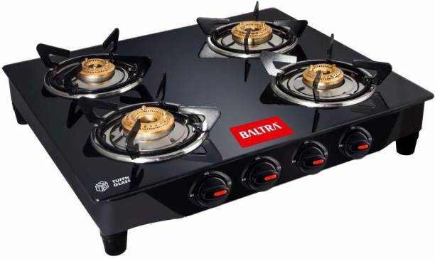 Baltra Glimmer Glass Top Gas Stove 4 Brass Burner Manual Ignition, Black (ISI Certified 1year warranty with Doorstep Service) Glass Manual Gas Stove