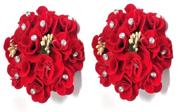 BELLA HARARO Artificial Rose Flower Gajra Juda Hair Bun Red Colo (Rose -Gajra-pack-of-2) Bun