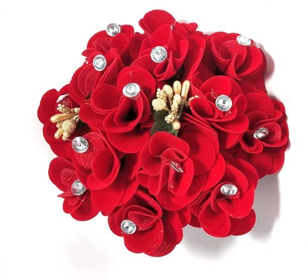 BELLA HARARO Artificial Rose Flower Gajra Juda Hair Bun Red Colo (Rose -Gajra-pack-of-1) Bun