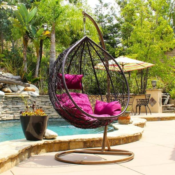 SPYDER HOME DECORE Swing chair With Stand And Cushion Iron Large Swing
