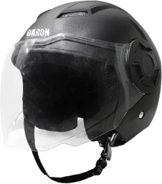 Steelbird Open Face Helmet, ISI Certified Helmet in Dashing Black with Clear Visor Motorbike Helmet