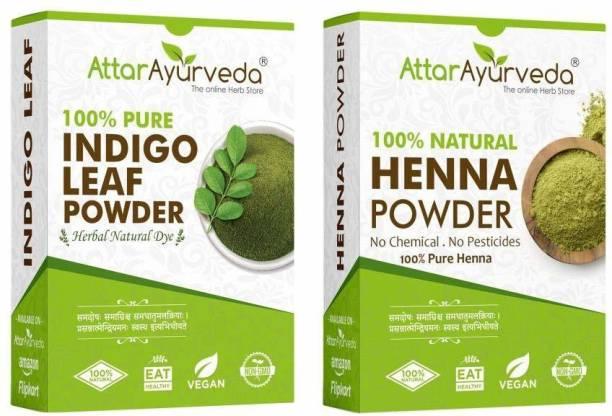 Attar Ayurveda Natural Dye for Black Hair (Henna Leaves powder, Indigo leaves powder combo pack)