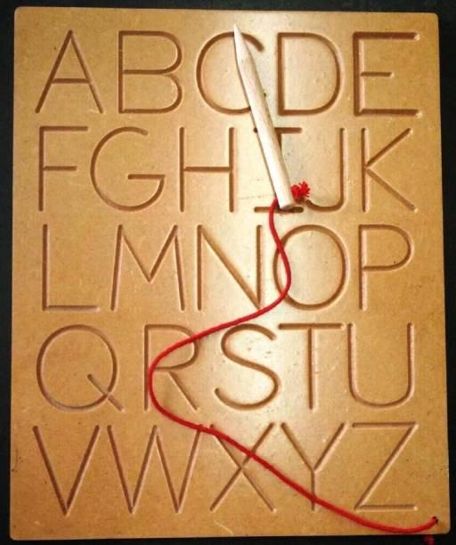 DawnRays English Alphabet Tracing Uppercase Board English Alphabet Writing Practice Wooden Boards Developmental Toy (2.5 to 6 Age)