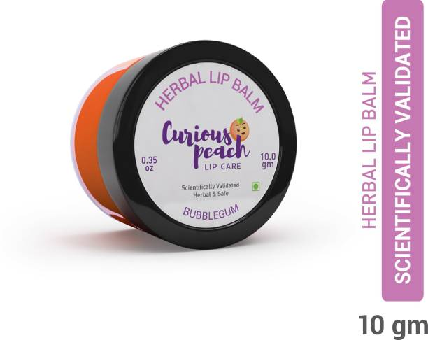 Curious Peach Ultra Protection Herbal Lip Balm - Bubble Gum 10GM   For Kids & Teens [Unisex]   Herbal, Ayurvedic, Safe & Scientifically Validated Bubble Gum