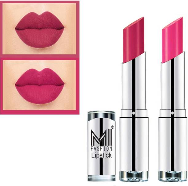 MI FASHION Rich Colors Cr�me Matte Smooth Lipstick Combo Made in India Long Lasting Set of 2 Code no 1458