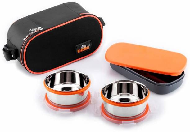 Carewell Royal Double Decker 2 Container Stainless Steel with Small Lunchbox 2 Containers Lunch Box