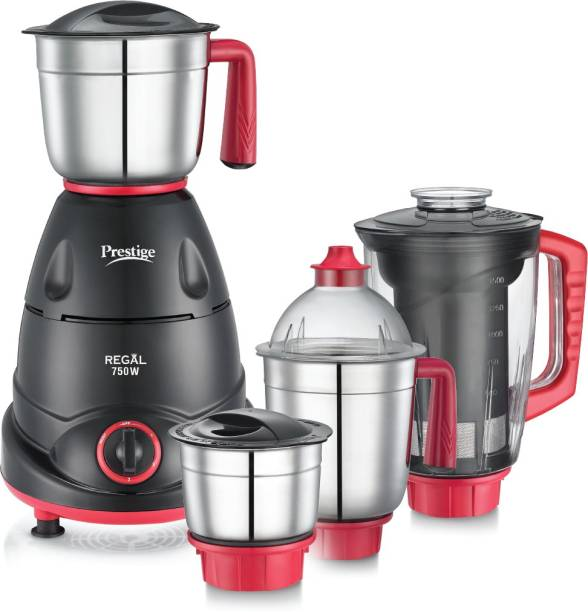 Prestige Regal 41384 750 Juicer Mixer Grinder (4 Jars, Red and Black)
