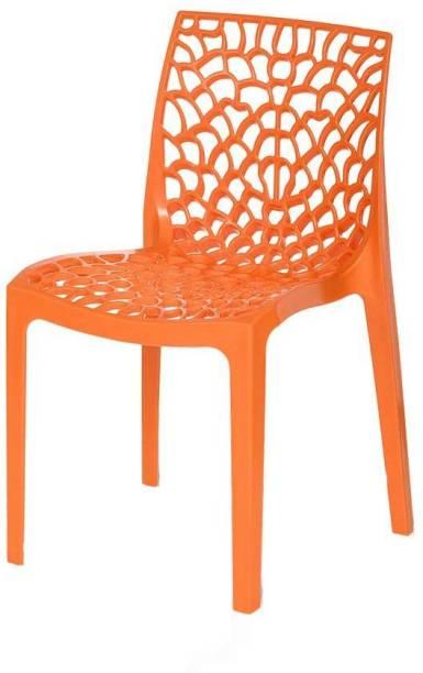 RW REST WELL Web Designer Plastic Chairs (Set of 1, Orange) Plastic Outdoor Chair