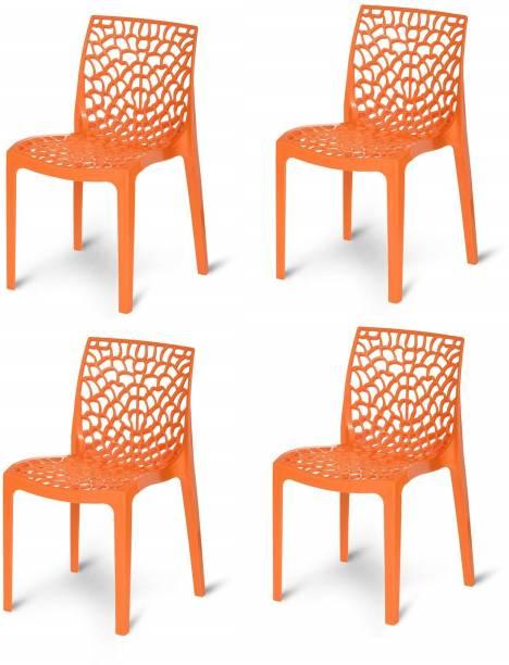 RW REST WELL Web Designer Outdoor Plastic Chairs (Set of 4, Orange) Plastic Outdoor Chair