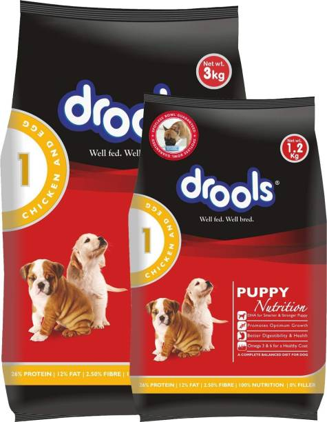 drools Puppy Egg, Chicken 3 kg (2x1.5 kg) Dry Young Dog Food