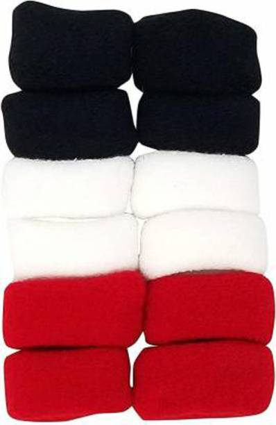 SHD Collectons Black, Red, White Cotton Wool Large Thick Rubber Bands/Ponytail Holders for Women (Pack Of 12) Rubber Band (Multicolor) Rubber band Rubber Band
