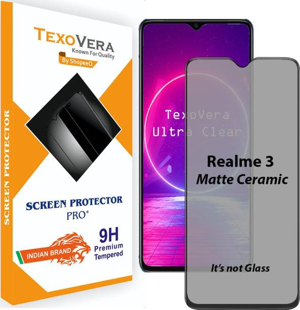 TexoVera Edge To Edge Tempered Glass for Realme 3, Samsung Galaxy M10, Samsung A10, Samsung A10s, Samsung M01s, Vivo Y90, Vivo Y91, Vivo Y93, Vivo Y95, Realme 3i, Oppo A12, Oppo A15, Oppo A5s Matte with Camera cut