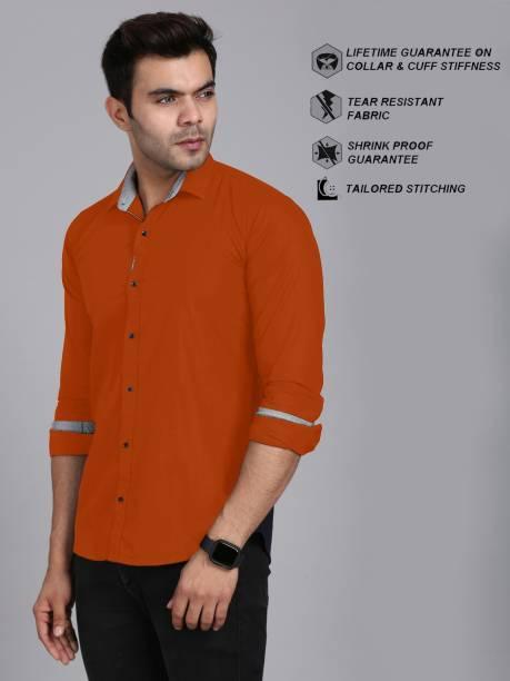 3SIX5 Men Solid Casual Orange Shirt