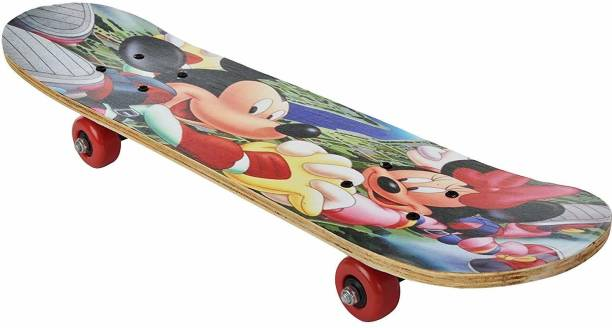 Barodian's Micky - Mouse Multicolor assorted cartoon character skateboard for kids [ capacity - 80 - 90 kg ] 11 inch x 14 inch Skateboard