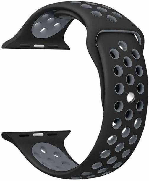 JIGO PLUS Black-Grey Duel Tone Extra Soft Premium Silicon Watch strap 42mm / 44mmfor watch series 6/5/4/3/2/1, Pack of 1 Smart Watch Strap