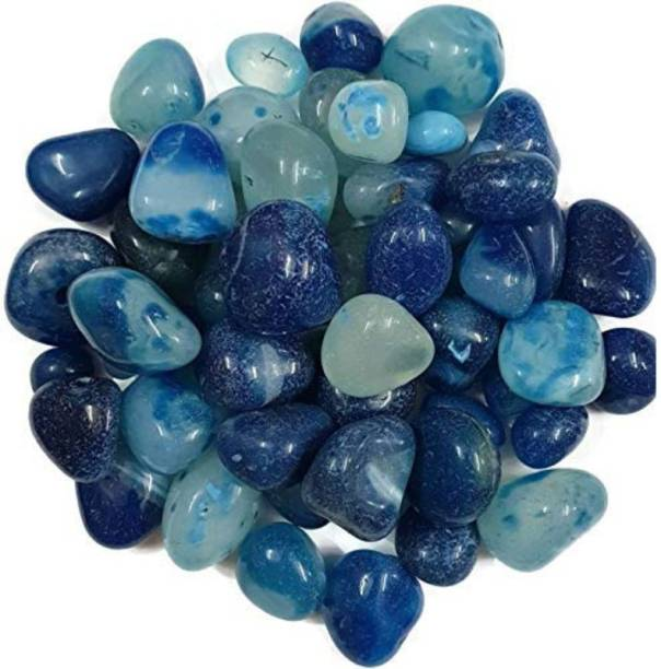 vanni obsession Decorative Polished Shiny Smooth Onyx Stones Pebbles For Aquarium Plant Pots Vase Filler Garden Home Outdoor Decoration (Natural Blue, 500 grams) Polished Round, Oval Onyx Pebbles