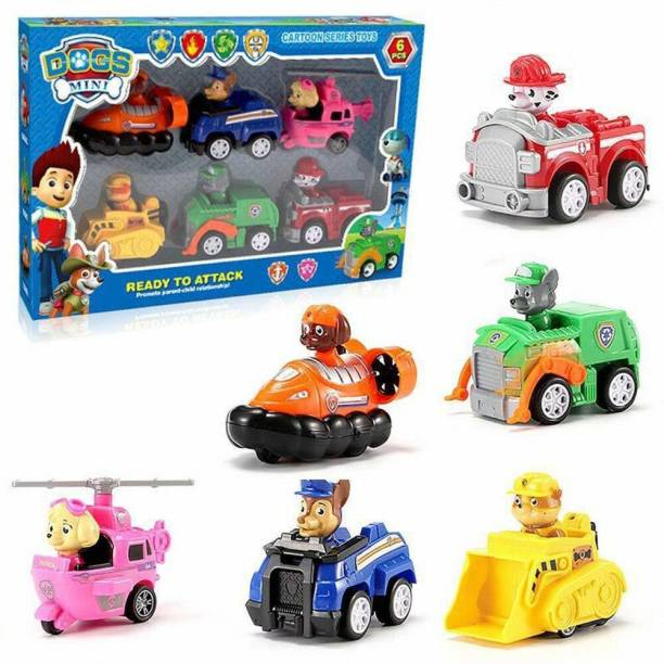 The Simplifiers Pup Buddies Dogs Racer Pups Rescue Team Figure Set of 6 Pieces with Vehicles