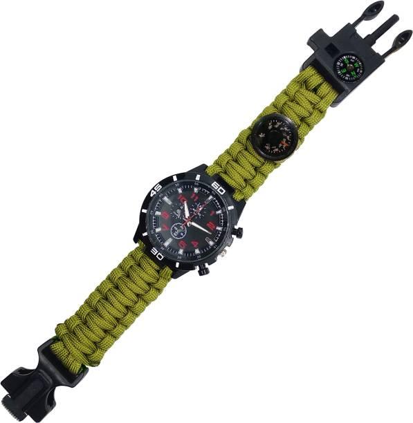 TrustShip Survival In Forrest Bracelet Watch Paracord/Whistle/Fire Starter/Scraper/Compass Flint Fire Starter Striker Included
