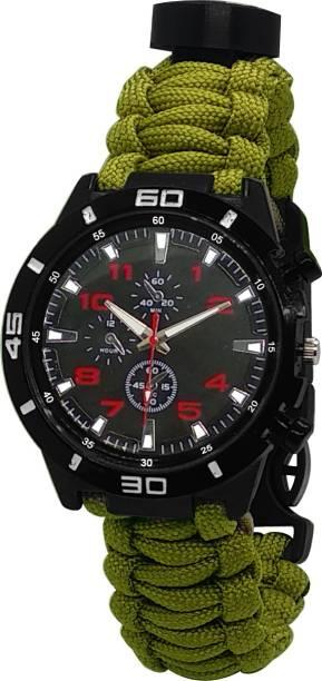 FITUP Paracord/Whistle/Fire Starter/Scraper/Compass Survival Watch Bracelet For Men Flint Fire Starter Striker Included