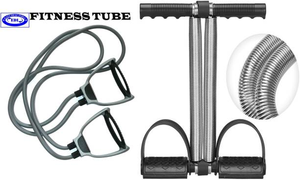 Easy Deal India EDI Double Spring Tummy Trimmer Ab Exerciser + Double Resistance Band, Toning Tube Ab Exerciser