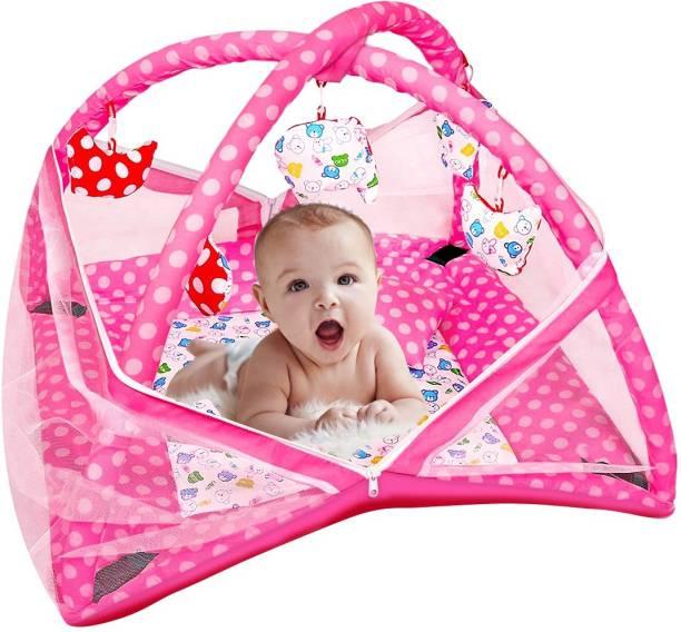 YNA Baby Kick Play Gym Mosquito Net Baby Bedding Set (Pink)