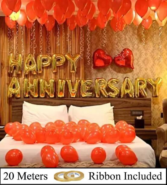 DECOR MY PARTY Solid Happy Anniversary Golden Letter Foil Balloon Set with Heart Shape , Metallic Balloons & Curling Ribbon for Wedding Anniversary Celebration , Room Decorating Items / Anniversary Decoration Items / Happy Anniversary Balloons for Party Decorations Balloon