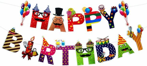 Ang Happy Birthday Banner/birthday banner/birthday decoration Banner/Flag Banner/ Letter Banner (Multicolor) Banner