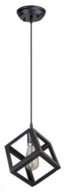 LazyHomez Single Head Cube Shape Vintage Metal Square Hanging Pendant Ceiling Lights (Black, No Bulbs provided) Pendants Ceiling Lamp