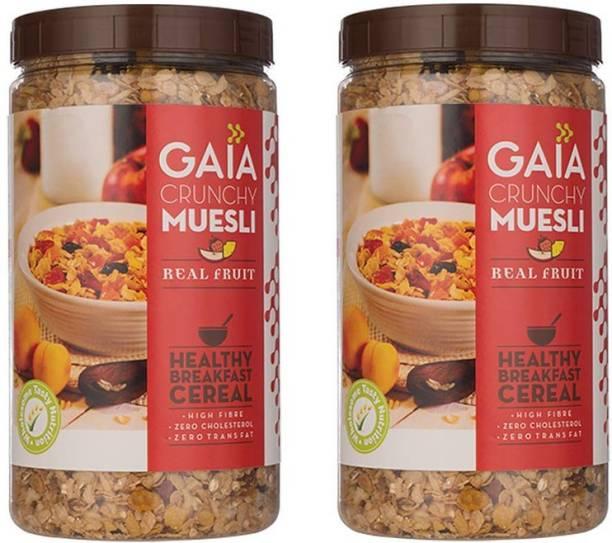 GAIA Real Fruit Crunchy Muesli 1 KG Jar (Pack of 2)