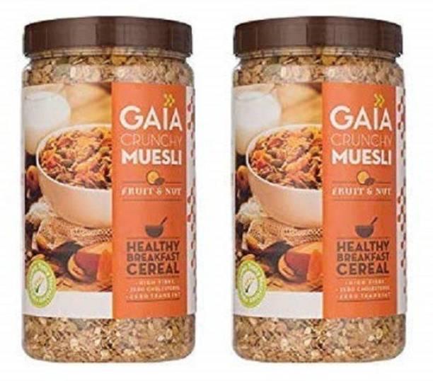 GAIA Crunchy Muesli Fruit and Nut 1 KG jar (Pack of 2)