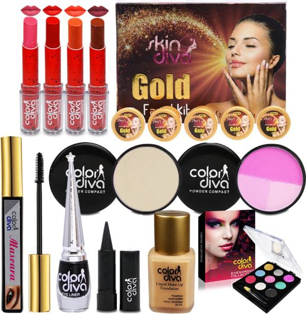 Color Diva Triple Action Facial Kit With Beauty Special Combo Makeup Set