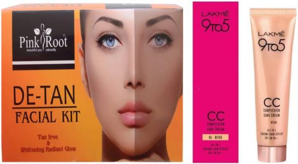 PINKROOT De Tan Facial Kit with Lakme 9TO5 CC Complexion Care Cream