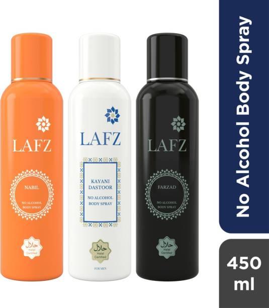 LAFZ Nabil, Kayani Dastoor & Farzad Combo No Alcohol Body Spray  -  For Men