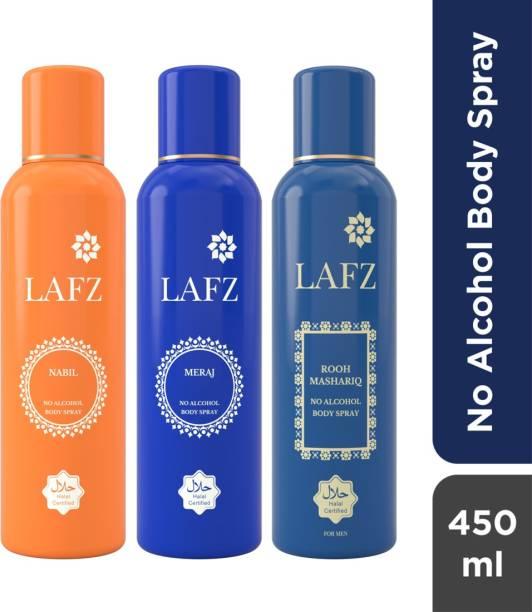LAFZ Nabil, Meraj & Rooh Mashariq Combo No Alcohol Body Spray  -  For Men