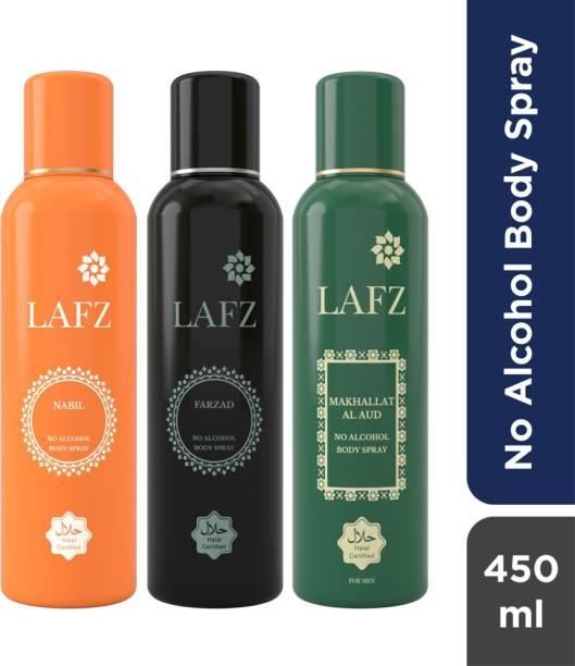 LAFZ Nabil, Farzad & Makhallat Al Aud Combo No Alcohol Body Spray  -  For Men