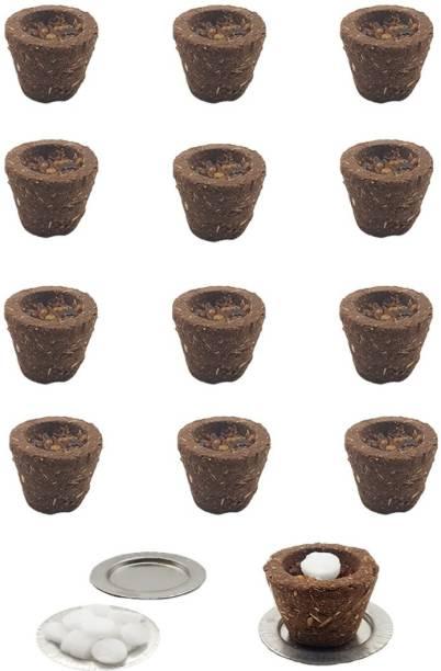 Organic Tatvam Natural Fragrance Natural & Organic Cow Dung Sambrani Cups ,12 Pieces Ingredients: Cow Dung, Pure Guggal, Jatamaasi, Loban, Chandan & Tulsi Powder, Havan Samagari, Kapoor (Camphor) Guggul Dhoop