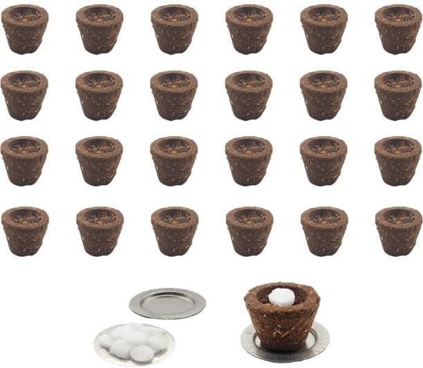 Organic Tatvam Natural Fragrance Natural & Organic Cow Dung Sambrani Cups ,24 Pieces Ingredients: Cow Dung, Pure Guggal, Jatamaasi, Loban, Chandan & Tulsi Powder, Havan Samagari, Kapoor (Camphor) Guggul Dhoop