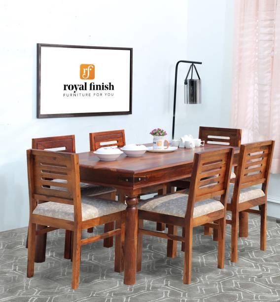ROYAL FINISH Ecko Dining Set Solid Wood 6 Seater Dining Set