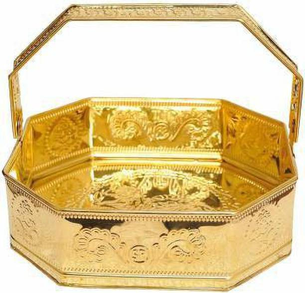 VPSK Brass Pooja Flower Basket - Big, 1 Piece, Gold Temple Puja Tokri Brass Flower Basket Brass Flower Basket